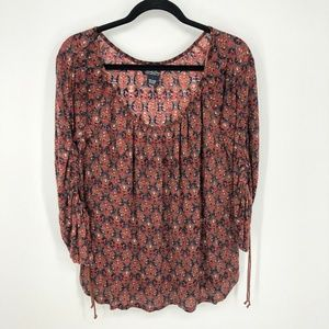 Lucky Brand Ruched Drawstring Sleeve Ikat Blouse